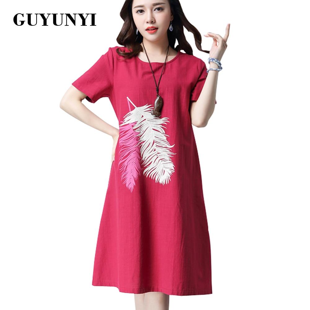 GUYUNYI letní bavlněné prádlo šaty vytištěné krátké rukávy volné šaty 2016 Vintage Dámské oblečení národní vítr Vestido De Festa