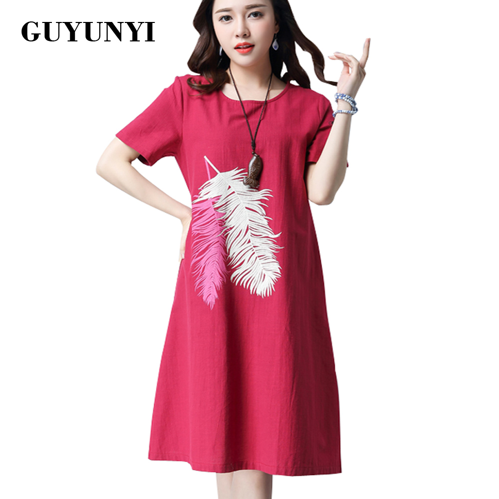 GUYUNYI Summer Cotton Linen Dress Printed Short-sleeved Loose Dress 2016 Vintage Womens Clothing National Wind Vestido De Festa