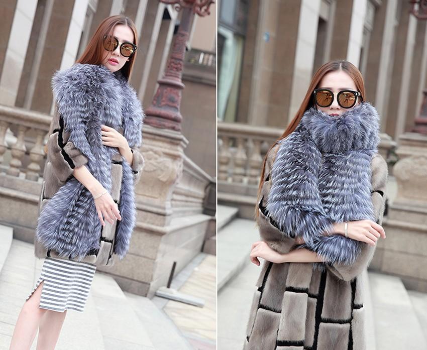 YCFUR Brand Design Fashion Women Scarves Winter Stripes Silver Fox Fur Scarf Female Winter Wraps Scarves Collars Ladies 11