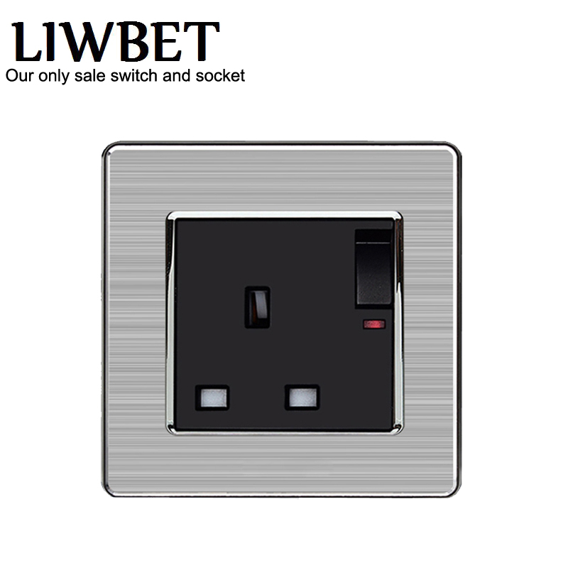UK standard 13A 1 gang light switch with 3P and 250V lamp pull switch push button electronic switch AC110V-250V wall switch ac 250v 13a white rewirable connector head uk plug