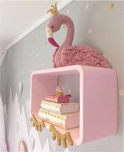 Cute Handmade Pink Crown Swan Wall Decor Stuffed Doll Toys 3D Animal Head Toy Wall Hanging Flamingo Decor Baby Room Wall Artwork(China)