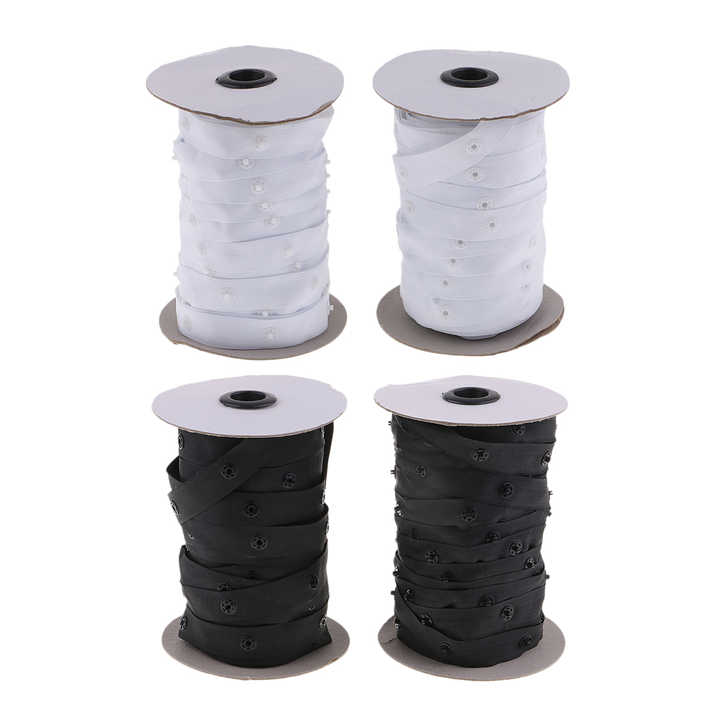 2 Rolls Sewing Snap Fastener Tape Snap Polyester Ribbon Fasteners for Sewing White
