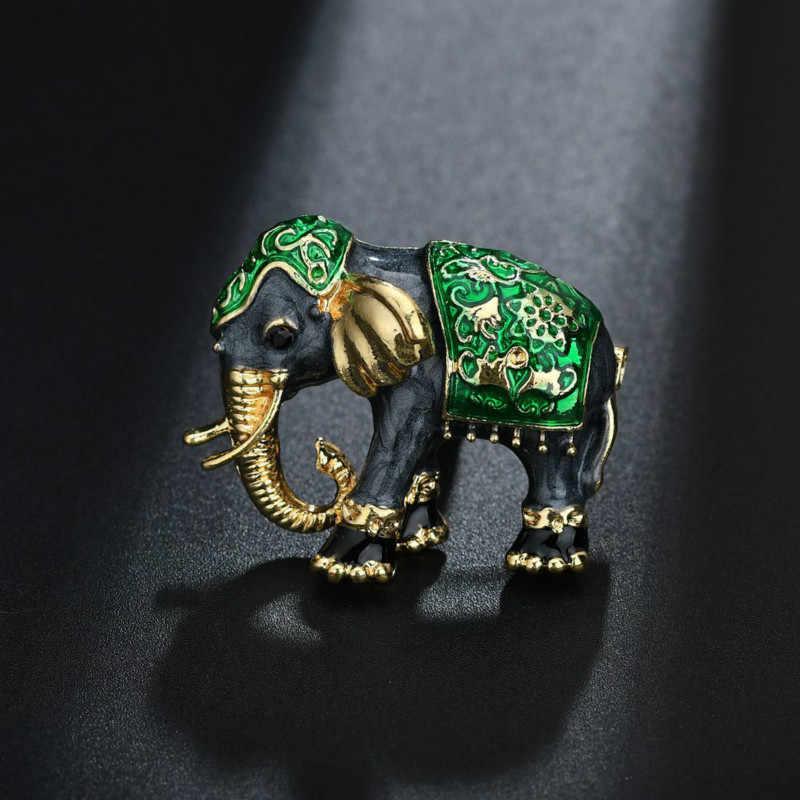 Indah Gajah Bros untuk Wanita Pria 4 Warna Fashion Korea Sederhana Retro Logam Enamel Pins Aksesoris Bros Perhiasan Hadiah
