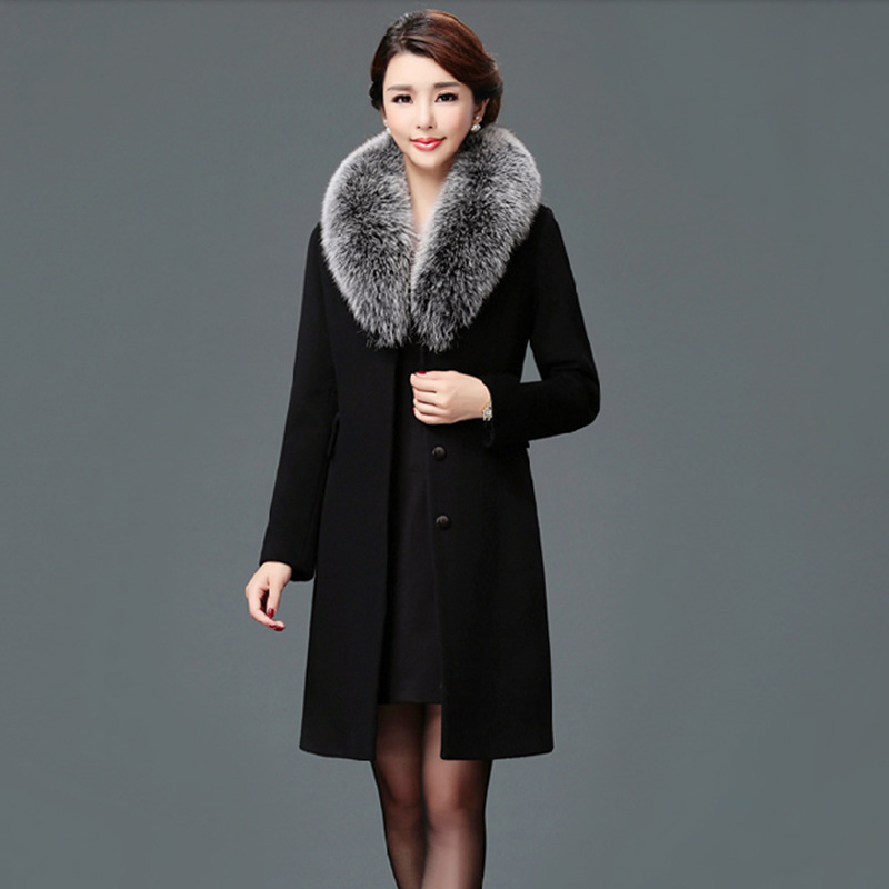Elegant Solid Long Woolen Winter Coats Slim Pockets Office Wool Coat And Jacket Covered Button Fur Collar Ladies Coats