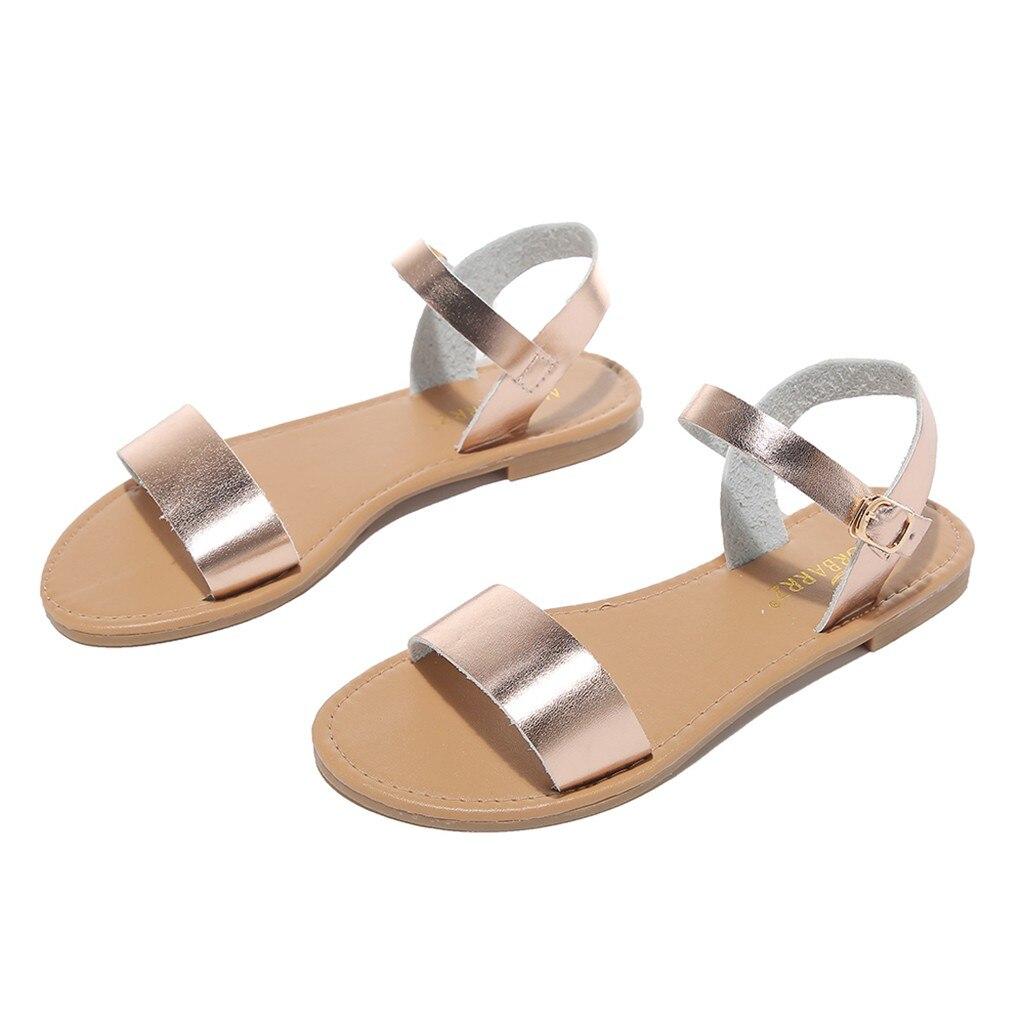 HTB1msdlQzDpK1RjSZFrq6y78VXaS SAGACE Women's Sandals Solid Color PU Leather Sandals Women Fashion Style Flat Summer Women Shoes Women Shoes 2019 Sandals 41018