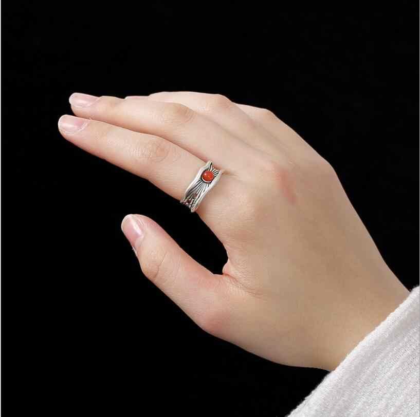 100% S925 แหวนเงินแท้เครื่องประดับเงินสีแดงธรรมชาติอาเกตเครื่องประดับแฟชั่นแบบปรับได้