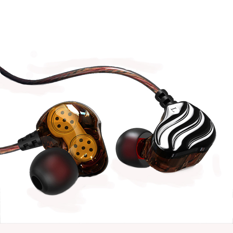 S200 2 Double Dynimac Unit In-Ear Earphone Subwoofer Stereo Sport Headset Noise Cancelling HIFI Earbuds DJ PC Headphone with mic uiisii dual dynamic subwoofer hifi earphone headset noise cancelling wired in ear earbuds with mic and control button earphone