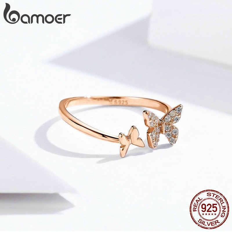BAMOER offre spéciale 925 en argent Sterling éblouissant CZ papillon ouvert bague pour les femmes mode bijoux en argent Sterling cadeau SCR087