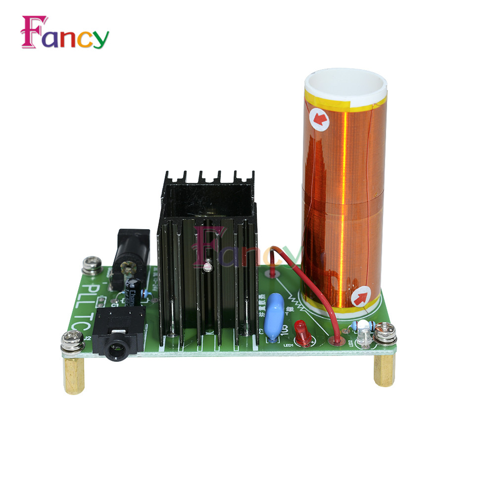 DIY Mini Tesla Coil Kit 15W Mini Music Tesla Coil Plasma Speaker Tesla Wireless Transmission DC 15-24V micro mini tesla coil with a beautiful head diy kits for kids diy toys