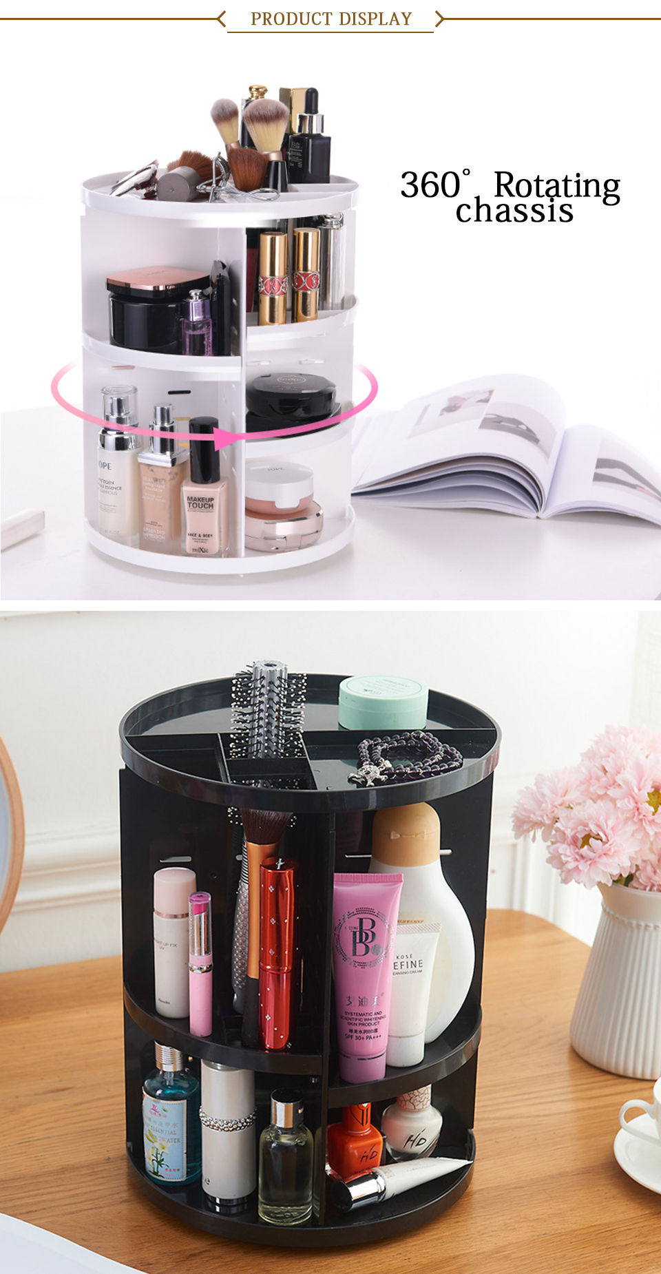 360 Degree Rotating Makeup Organizer Multifunction Jewelry Cosmetic Lipstick Brushes Make Up Organizer Plastic Storage Box Case _07