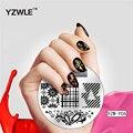 YZWLE 5.6 cm Ronda Nail Art Sello Estampado de Placas de Celosía de Encaje de Flores de Diseño Placa de la Imagen Del Arte Del Clavo Decoraciones