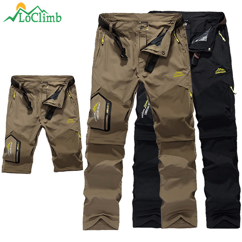 LoClimb Outdoor Hiking Pants Men Mountain Climbing Trousers Removable Man Trekking Pants Spring/Summer Quick Dry Shorts AM002
