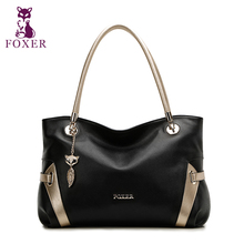 FOXER Soft Women Genuine leather shoulder Bag Solid Multi color Female handbag with free shipping