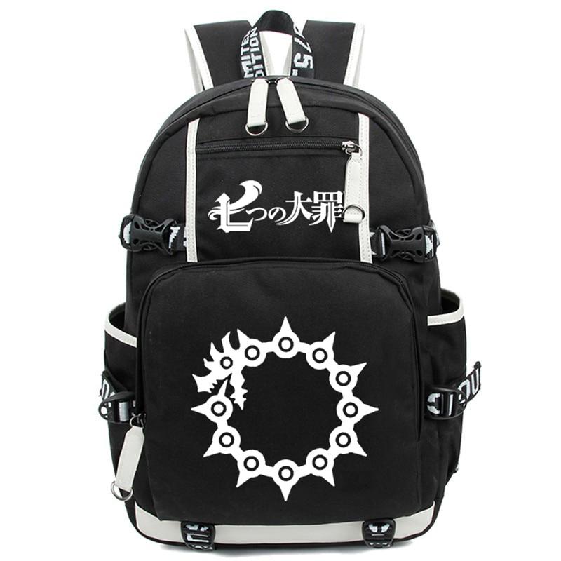 New Anime The Seven Deadly School Backpacks Rucksack Sins Nanatsu No Taizai Luminous Backpack Shoulder Laptop Travel Bags Gift