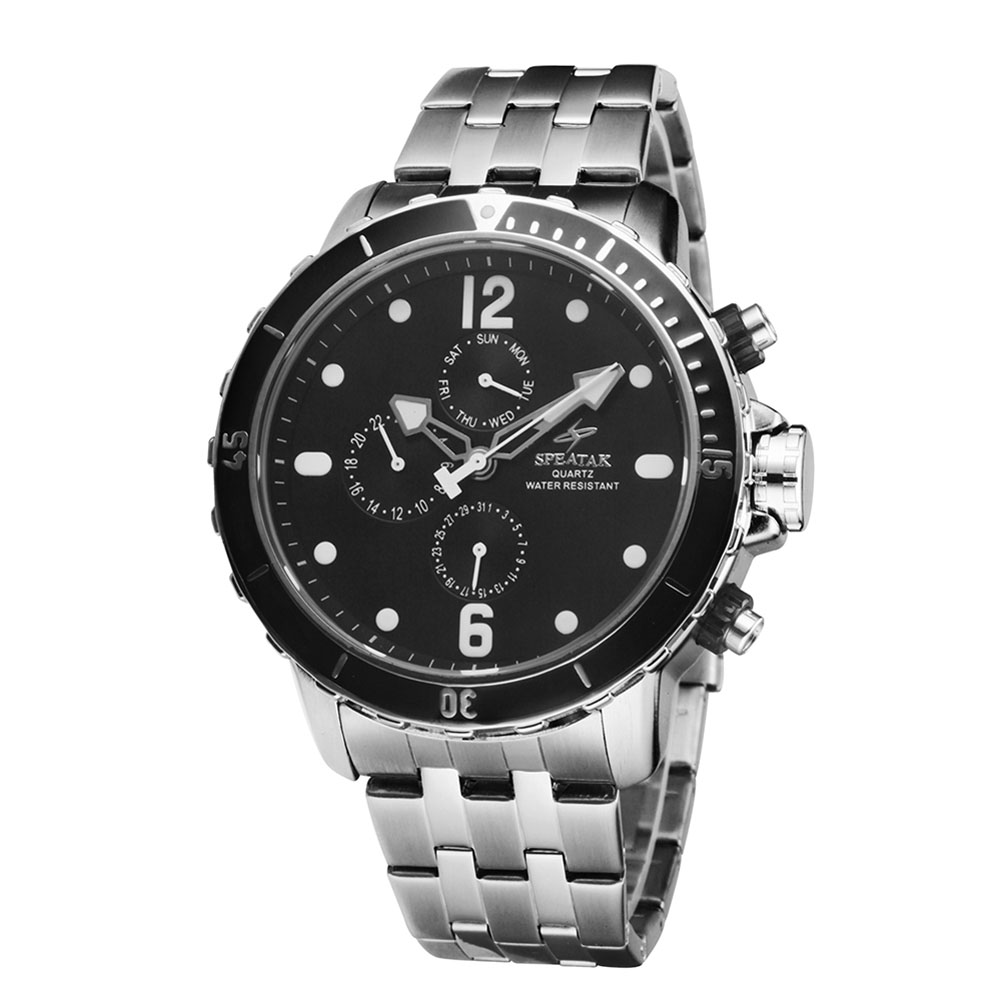 2016 New Classic Business Three Sub Dials Stainless Steel Bracelet Set Drill Automatic Men s Watches