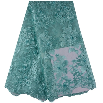 Flower Embroidery African Lace With Beads High Quality African French Tulle Lace Fabric 5 Yards A1014