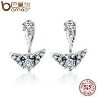 BAMOER Genuine 925 Sterling Silver Fairytale Tiara Stud Earrings Clear CZ Earrings For Women Luxury Silver