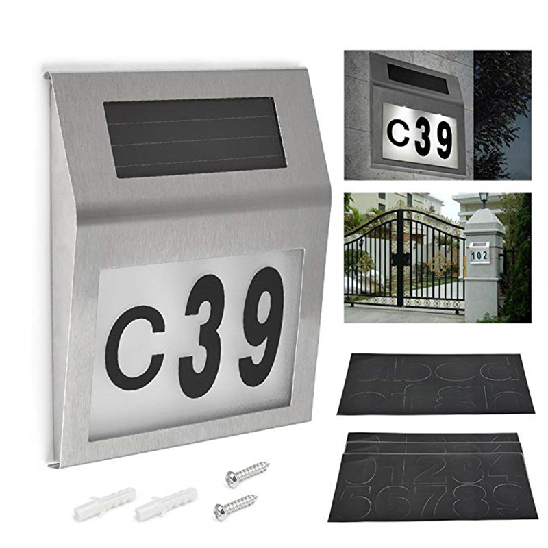 Solar Lighted Address Sign House Number Solar Powered 2LED Doorplate Number Light Outdoor Wall Plaque Lamp