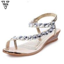 VTOTA Brand Sandals Women Rhinestone Summer Shoes Wedges Slip On Woman Waterproof Party Womens