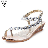 Fashion Summer Shoes Brand Sandals Women Gladiator Flat With Flip Flop Rhinestone Ladies Shoes Flip Flop