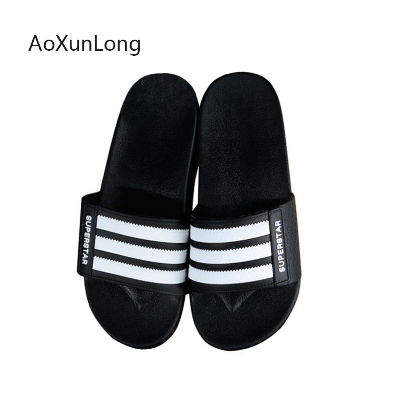 Men Slippers Summer Beach Flip Flops Men Slides Non-slip Indoor Home Bathroom Striped Sandals Soft Soles Outdoor Couple Slippers