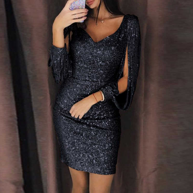 f0cca2ee0a8d ... Gold Silver Women Sexy Tassel Sequin Party Dress Slit Sleeve V-neck  Club Mini Dress