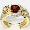 Unique Flodal Natural Garnet Engagement Ring 7mm Round Red Gemstone Eternal 925 Sterling Silver Yellow Gold Plated Jewelry Ring