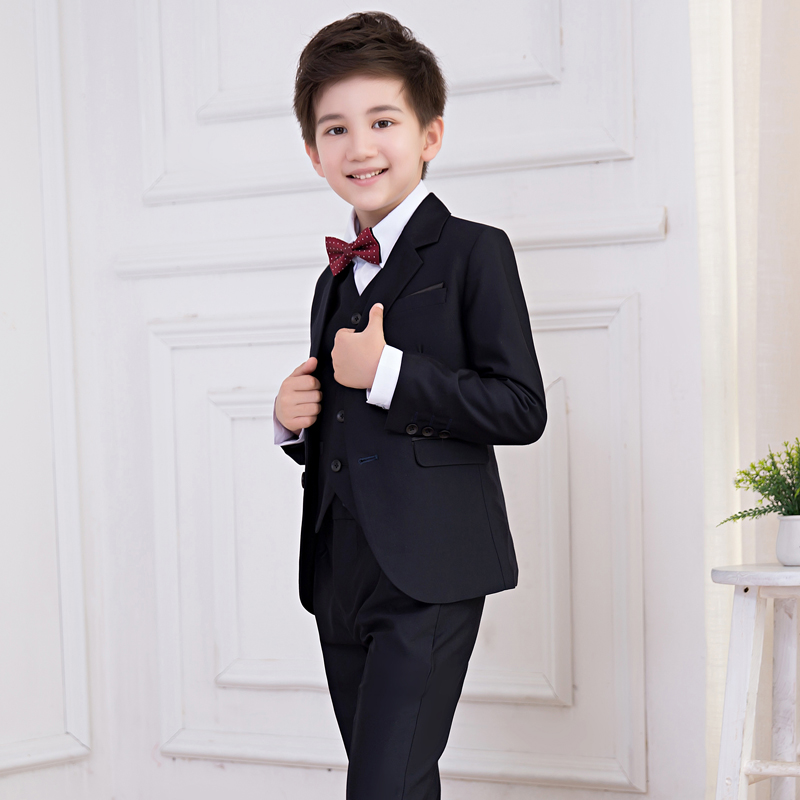 Jacket + shirt + vest + pants bow tie boy suit flower girl from tail dress fashion brand groom dress wedding blue suit jacket