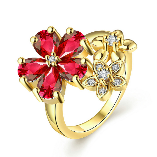 Gold Color Finger Ring For Lady Women With AAA Clear/Red Crystal Flower Cubic Zircon Engagement Jewelry #7 8