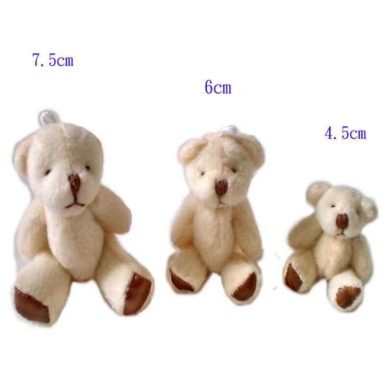 1Pcs 4.5 6 7.5cm lovely mini white Bear Plush Toys Mobile phone bag key chain pendant wedding throwing Gift Bouquet Decor