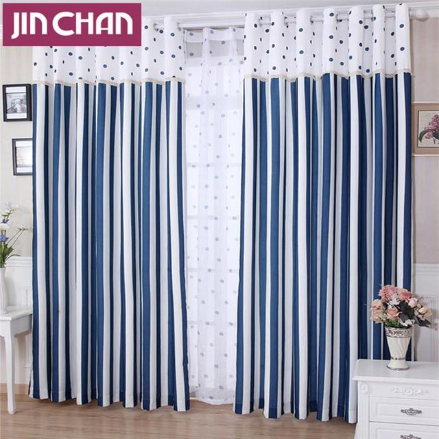 Mediterranean Blue Stripe Blackout Window Curtains Drapes Shades For Living  Room Bedroom Kitchen , Grommet Top