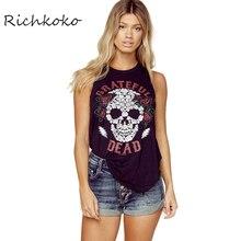 Richkoko Apparel Punk Rock T-Shirt Women Casual Skull And Rose Printed Sleeveless Tops Tees Loose Black Backless Street Tshirt