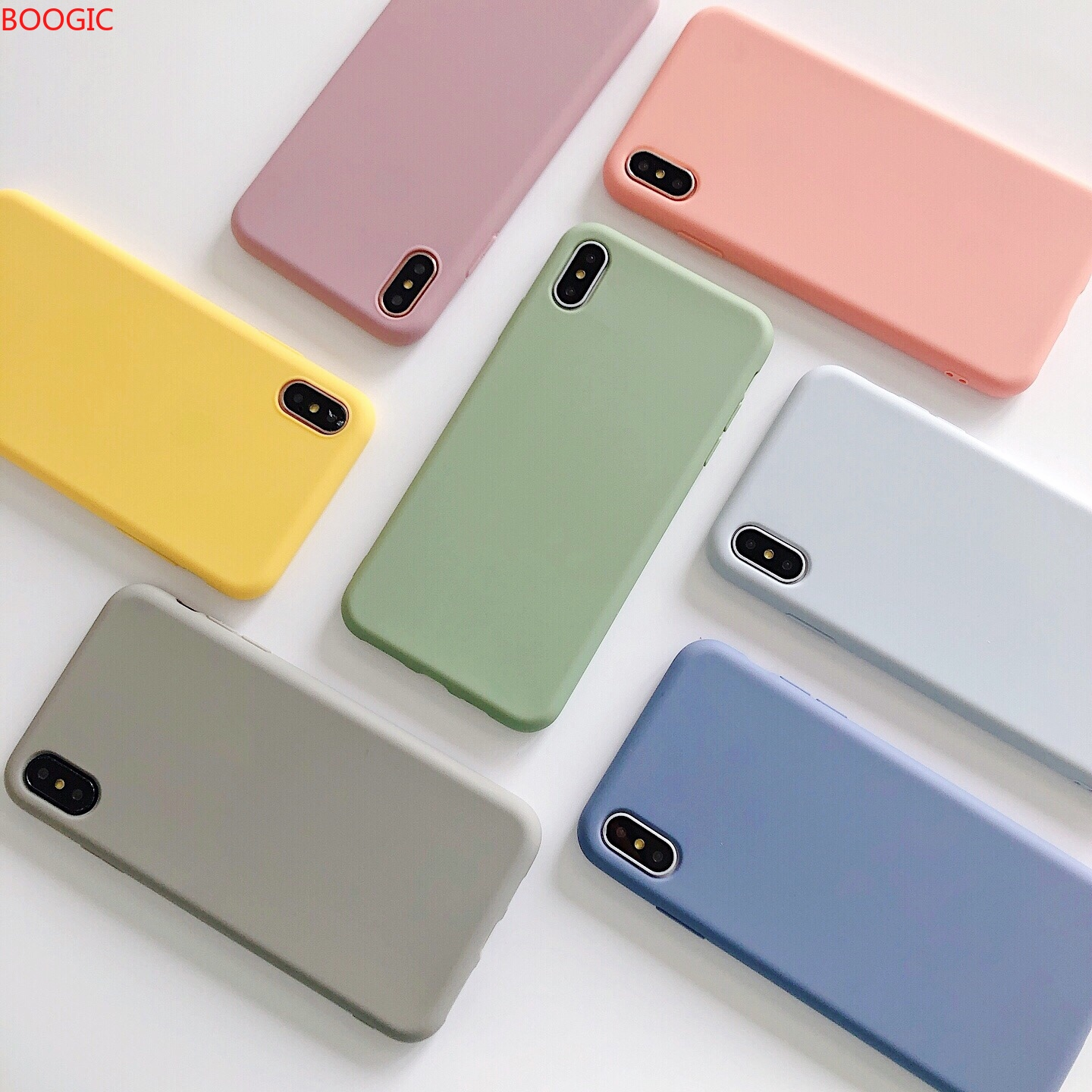 Phone Case For iPhone 7 6 6s 8 X Plus XR XS Max Simple Solid Jelly Color Ultra thin Soft TPU Silicone Full Cover Shockproof Caqa