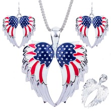 1set Angel Wings Necklace Earring Jewelry Set Alloy Unique American Flag Design Gift Animal Pendant Rainbow Charm Accessories