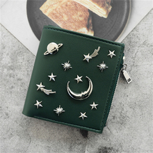 WESTERN AUSPICIOUS Wallet Women Newest Pink Green Gray Black Blue Female Wallet Zipper Fashion Sequined Lady Purse Card Holder cheap Standard Wallets Star PU Leather 10cm Coin Pocket Note Compartment Zipper Poucht Card Holder WA435 10 5cm Synthetic Leather