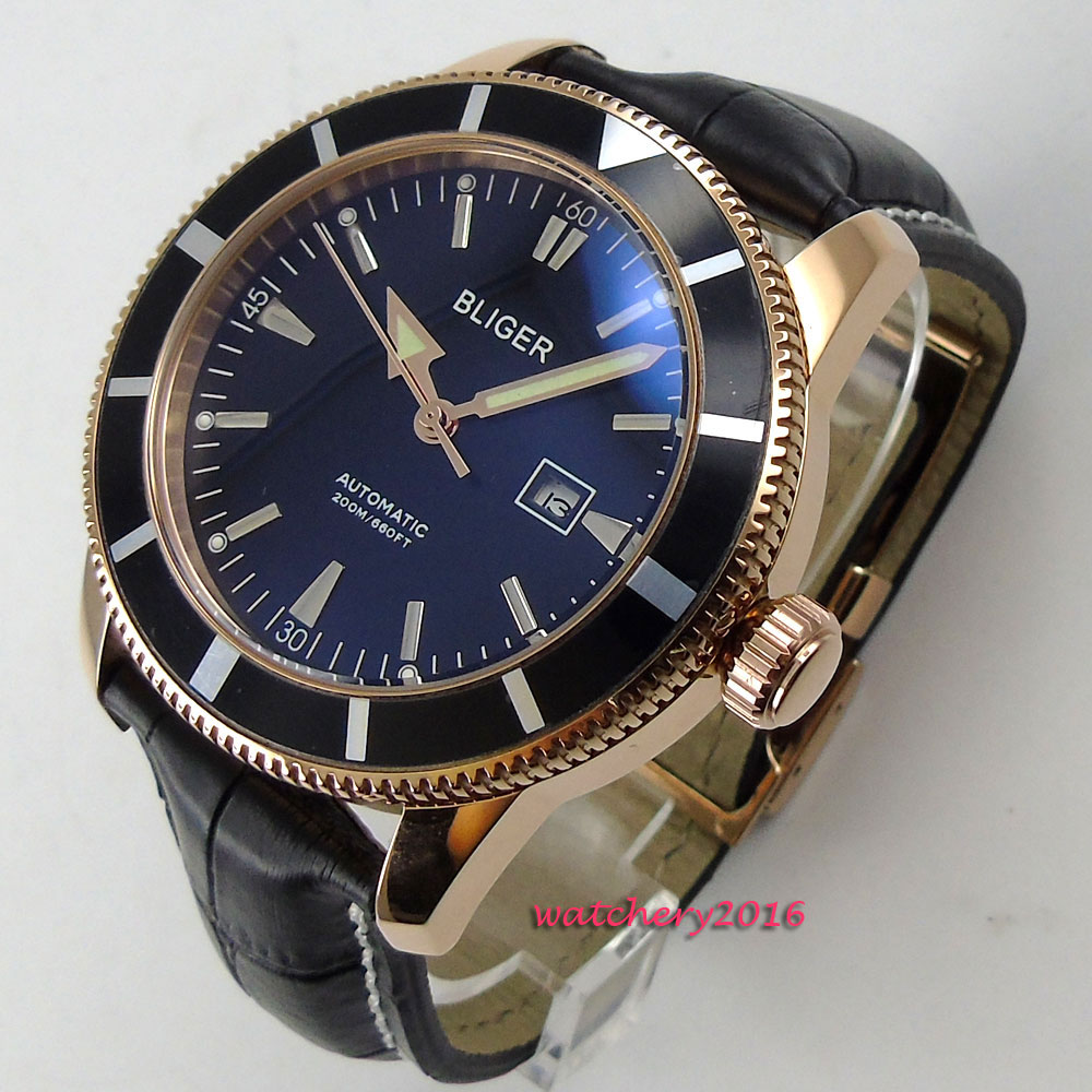 NEW Arrive 46mm Bliger Black Dial Rotating Bezel Date Luxury Brand Rose Golden Case Automatic Movement men's Watch цена и фото