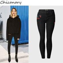 Chicanary цветочные вышитые женщины обрезанные узкие джинсы черные джинсовые брюки плюс размер xxxl