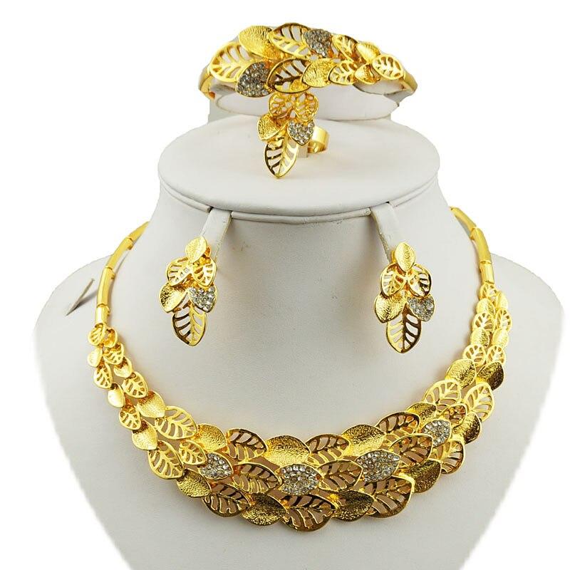 Flower Leaf Luxury Women Nigerian Wedding Naija Bride Cubic Zirconia Necklace Dubai 4PCS Dress Jewelry Set