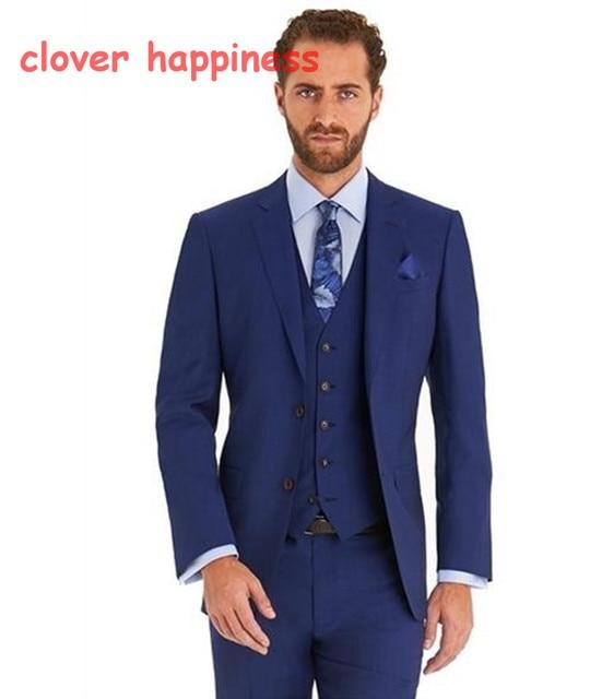Blazer azul Para Os Homens Homens Blazer Smoking Formal Traje Homme blazer masculino slim fit Mens Suit (jacket + pants + colete)