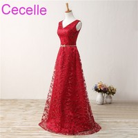 Simple Long Red Lace Evening Dresses 2018 Sleeveless A Line Elegant Women Formal Evening Party Gowns