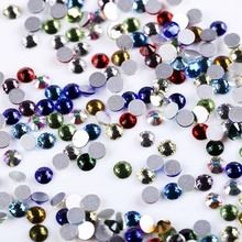 SS3-SS30 Mix color Rhinestones Back Flat Round Nail Art Decorations And Stones Non Hotfix Crystals for DIY Glass