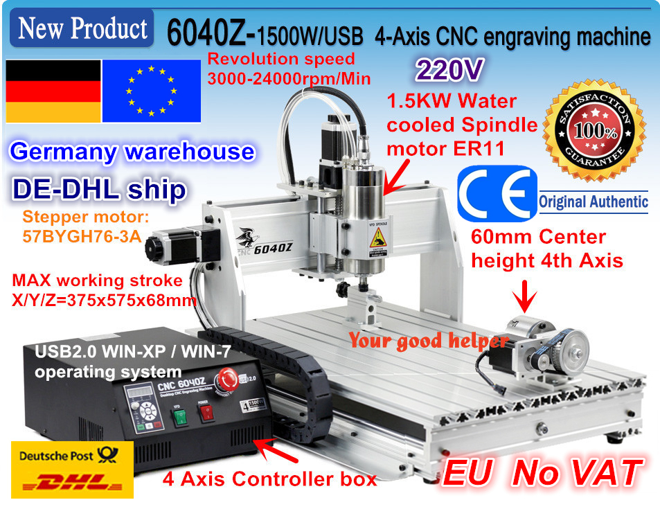 EU free VAT 4 Axis 6040 USB port 1.5KW 1500W USB Mahc3 CNC Router Engraver Engraving Milling Citting Machine 220VAC 2017 sale cnc router machine wood lathe new 6040 1500w 4 axis router engraver engraving drilling and milling machine 220v ac
