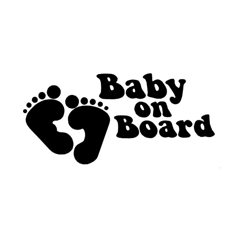 19 9cm Baby On Board With Baby Foot Cartoon Safety Sign