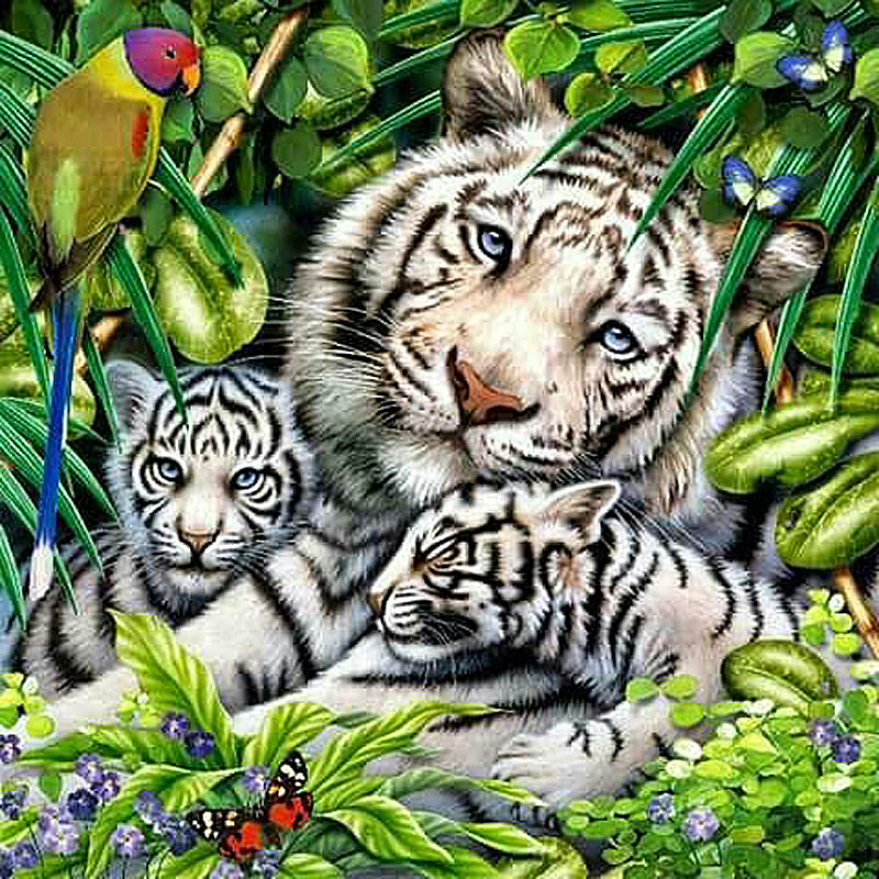 Happy Tiger Family 3D Diamond Embroidery Parrot And Butterfly New 100% Full Square Drill Diamond Mosaic Painting Home Decoration