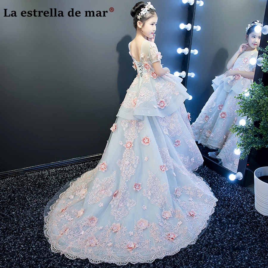 Vestidos de comunion 2018 new lace 1/2 sleeves trailing sky blue   flower     girl     dresses   for weddings luxury   girls   ball gown