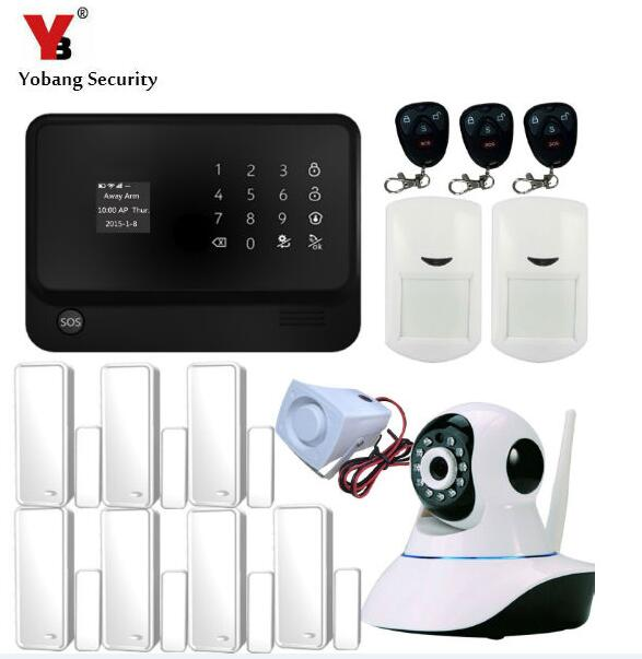YoBang Security Android IOS APP Controls Home Burglar Wireless GPRS Security Alarm System Touch Keyboard Work With IP Camera.
