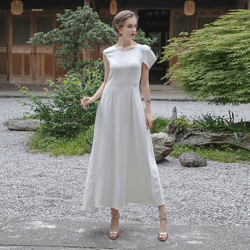 546335609c US $798.0 |VOA White Heavy Silk Wedding Bridesmaids Dress Luxury Slim Plus  Size Maxi Long Dresses Women Elegant Ladies Clothes ALX06801-in Dresses ...