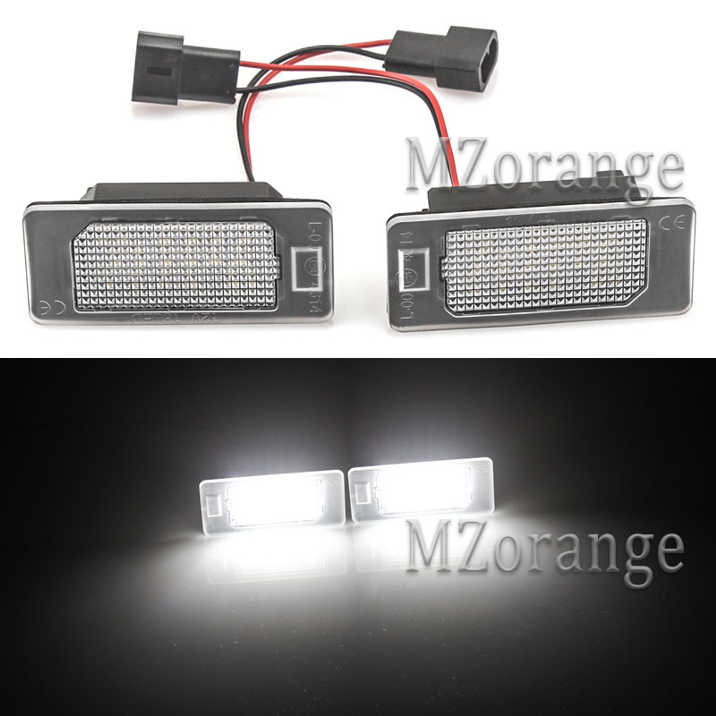 2 PCS License Plate Lights for BMW E39 4D Sedan 96~03 for E39 M5 4D Sedan 97~03 for F30 4D/<font><b>F31</b></font> 5D Sedan 12up 24-SMD <font><b>LED</b></font> Number image