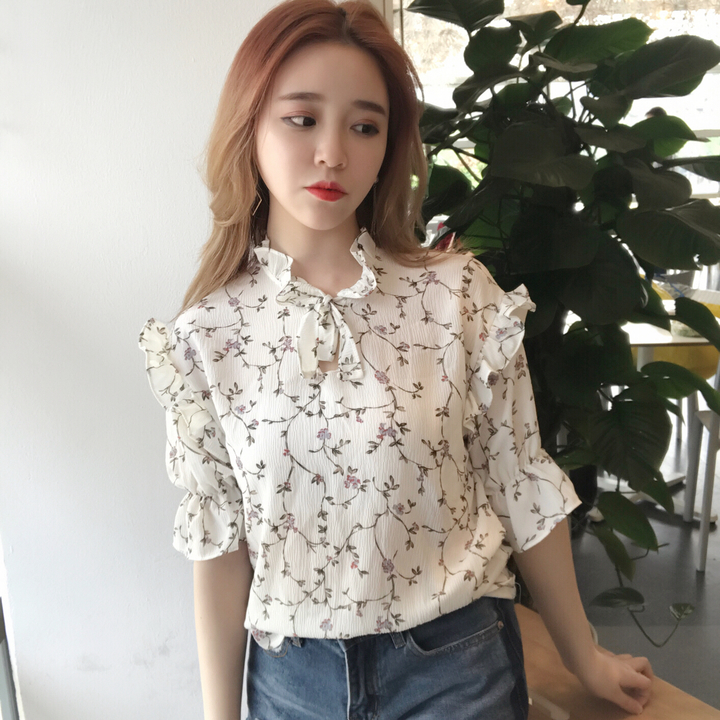 2017 Summer Sweet Floral Print Chiffon Blouse Ruffled Collar High Neck Shirt Petal Short Sleeve Chiffon Tops Blusas For Female