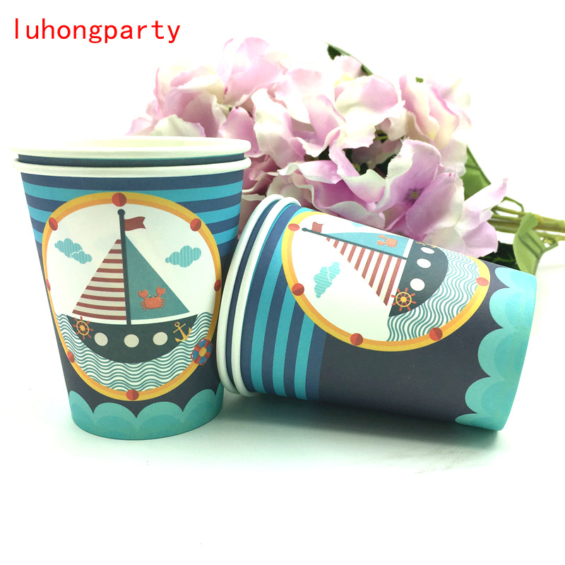 60pcs Sailing Boat navigation Theme 20pcs paper cups 20pcs napkins 20pcs plates for Kids Birthday Party Decoration for 20person in Disposable Party Tableware from Home Garden